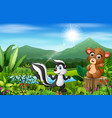 wild animal cartoons with beautiful green scenery vector image vector image