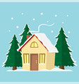 winter mountain landscape background flat vector image vector image