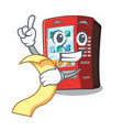 with menu vending machine next to character door vector image