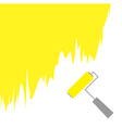 Yellow paint roller brush for text on the wall vector image vector image