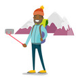 young african-american traveler man making selfie vector image vector image