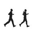 Black silhouette of running people Man and woman vector image