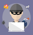 Hacker activity computer and e-mail spam viruses vector image