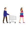 a guy with a shopping trolley a girl with a vector image vector image