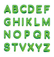 art green letters latin alphabet isolated vector image