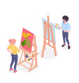 artist painter isometric composition vector image