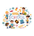 back to school pupils isolated vector image