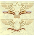 Badges with wings and ancient weapons vector image vector image