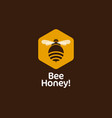 bee hexagon honey emblem comb vector image