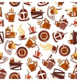 Brown coffee cups pots grinders seamless pattern vector image vector image