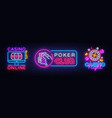 casino neon logos collection poker club vector image vector image