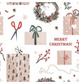 christmas presents in kraft paper with becoration vector image