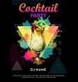 Cocktail pina colada on artistic polygon vector image