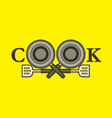 cook font design with pan and spatula vector image vector image