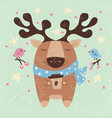 cute deer with hot coffee - cartoon vector image