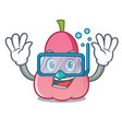 diving rose apple character cartoon vector image