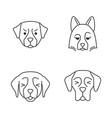 dogs cute kawaii linear characters vector image