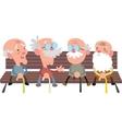 Elderly people on a bench vector image vector image