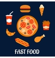 Fast food icons in flat style vector image