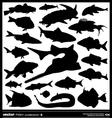 Fish silhouette set vector image