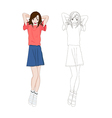 Girl Denim Fashion Asian Color No1 vector image vector image