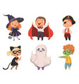 halloween kids party children scary characters vector image