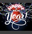 happy new year lettering congratulation card vector image vector image