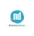 initial letter nd logo template design vector image