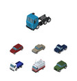 isometric automobile set of car truck auto and vector image vector image