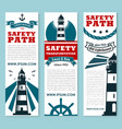 Lighthouse nautical safety banner set design vector image