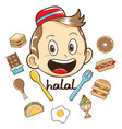 moslem kid with food vector image