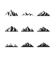 mountain icons set on a white background vector image vector image