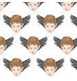 pattern with hand drawn boy vector image