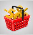 red basket bargain vector image
