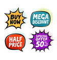 sale label set business shopping symbol in pop vector image vector image