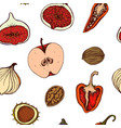 seamless pattern apples peppers onions vector image
