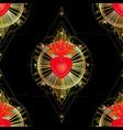 seamless pattern sacred heart jesus vector image vector image