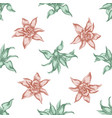 seamless pattern with hand drawn pastel guzmania vector image vector image