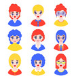 set of girls avatars vector image