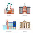 set of urban buildings in a flat style factory vector image vector image