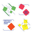 set rectangle logos with lines isolated on vector image