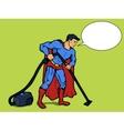 Superhero man with vacuum cleaner pop art vector image vector image