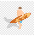 surfer carries his surfboard isometric icon vector image vector image