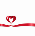swiss flag heart-shaped ribbon vector image