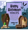 The coffin in an graveyard card with sample text vector image vector image