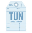 tunis airport luggage tag vector image vector image