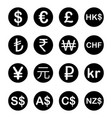 various currency fx money signs and symbols vector image