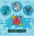 education flat concept icons vector image