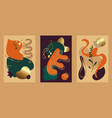 abstract cards in vibrant autumn colors with gold vector image
