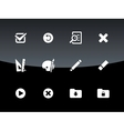 Application interface icons on black background